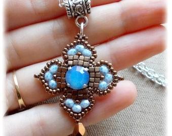 Cross Celtic No.6/pendant/antique/medieval/renaissance/blue opal