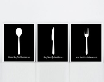 Kitchen Prints, Kitchen Blessing, Set of Three Prints, Bless the food before us, Black and White, Kitchen Utensils Prints, Kitchen Cutlery