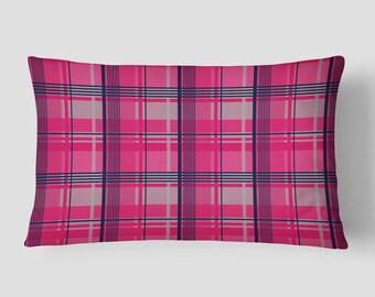 Pink Lumbar Pillow, Tartan Plaid Pillow, Plaid Cushion Cover, Pink Navy Pillow, Grey Blue Cushion, Checkered Lumbar Pillow, 14x20 Cushion