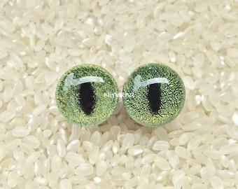 "Dichroic Green Gold Cat Eye Plugs Pyrex Glass - One Pair Ga. 00g 7/16"" 1/2"" 9/16"" 5/8"" 3/4"" 1"" 9.5 mm 10 mm 12 mm 14 mm 16 mm 18 mm - 25 mm"