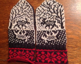 Moose and Roses Fair Isle Mittens