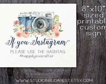 printable wedding instagram sign, floral custom sign, rustic instagram sign, floral wedding digital PRINTABLE,