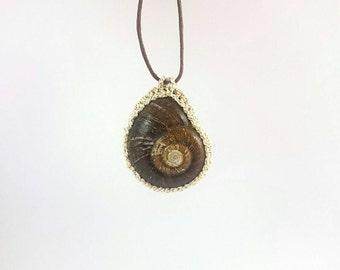 Deep Brown Snail Shell Pendant with white & gold-twist crochet bezel [Ltd Ed: 6/39], Crochet jewellery, Snail jewellery