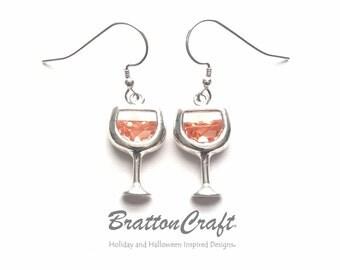 White Wine Glass Earrings - White Wine Earrings - Sterling Silver Wine Glass Earrings - Wine Earrings - Wine Lover