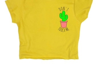 "Cactus ""Don't touch me"" ∘ Crop Top ∘ Illustration ∘ Pastel ∘ Kawaii ∘ White Baby Pink Blue Yellow // S M L XL 2XL"