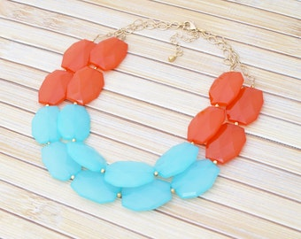 Bib Necklace, Statement Necklace, Turquoise & Orange Colorblock Beaded Colorful Necklace, Wedding Jewelry, Bold Chunky Large Bead Necklace