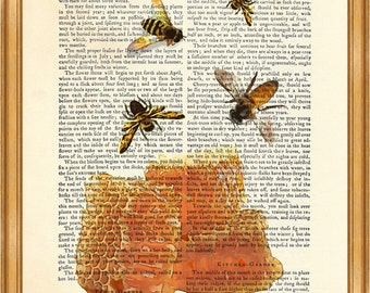 Heney with Bees DICTIONARY ART PRINT on Vintage Dictionary Page 8'' x 10'' from Antique Book