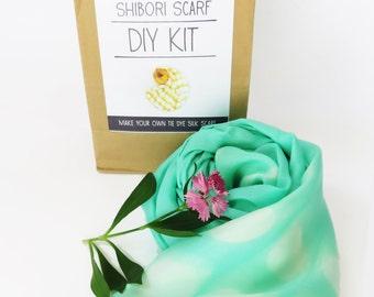 DIY Shibori scarf KIT, Silk scarf kit, shibori kit, tie dyed scarf kit, make your own Mint green shibori silk scarf,handmade, makes 1 scarf