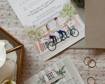 Custom Watercolor Couple Portrait Wedding Invitation Set