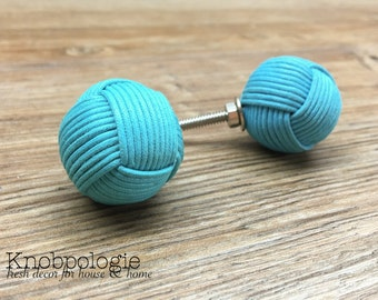 SET OF 2 Knot Knobs - Turquoise Blue Rope Wrapped Monkey Fist Knob - Nautical Decor - Ocean Aqua Knob - Coastal Rustic Kitchen Home Accent