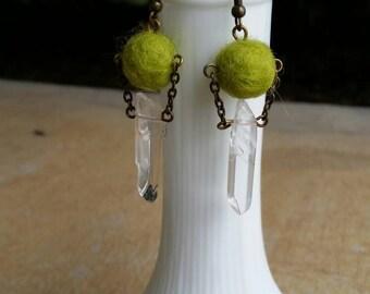 Lime Wool Bead and Crystal Point Earrings / Green Felt Ball Earrings
