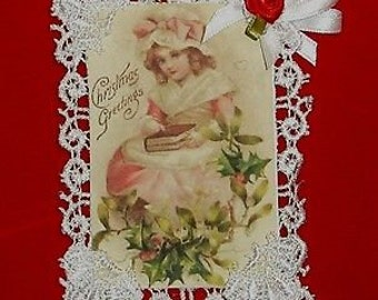 Vintage Style Victorian Christmas Card Tree Ornament- Greetings