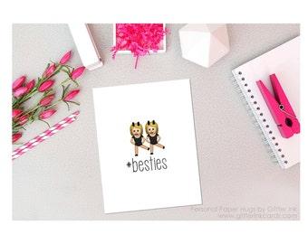 Besties - Emoji Besties Card - Emoji Girls Card