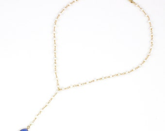 Blue Chalcedony Drop Y Necklace on a Pearl and Gold Chain