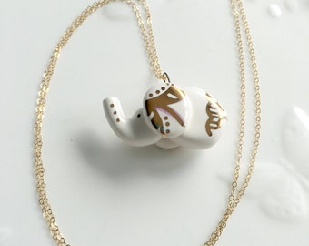 Handmade Ceramic Elephant Jewelry Necklace with 22k Gold Accents and 14k Gold Fill Chain