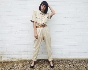 1980's Linen Khaki Safari Workman Jumpsuit