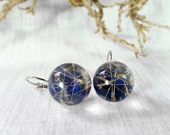 Dandelion Earrings, Dandelion Jewelry, Boho Jewelry, Gifts for Her, Resin Jewelry, Resin Earrings, Blue Earrings, Dandelion Seed