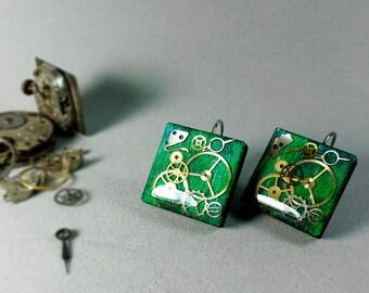 Real wood earrings, Steampunk resin earrings, Steampunk jewelry, Steampunk resin jewelry, Wooden earrings, Dangle earrings,