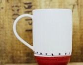 Porcelain coffee • tea • mug • hot chocolate • red • turquoise • polka dots • gift • ceramic • handmade • modern • simple • housewarming