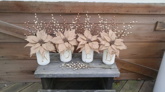 Burlap and Gold NOEL Mason Jar Set!