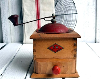 French Kitchen Vintage Red Wooden Coffee Grinder/Mill Mid Century F P