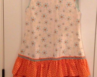 Aqua Blue Orange Pink Dot Floral Double Ruffle Drop Waist Girls Dress Jumper, piping and braided trim, 6-8 years!