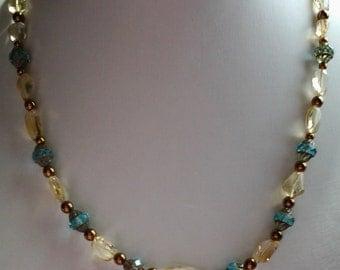 Citrine and blue czech  glass necklace