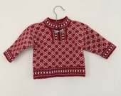 Vintage/baby/sweater/Scandinavian/red and white/6 to 12 months/handmade/knitted