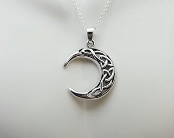 Moon phase pendant etsy celtic crescent moon necklace silver moon sterling silver crescent moon pendant celtic knot aloadofball Choice Image