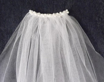 White Pearl & Crystal Decorated Shoulder Length Bridal Veil