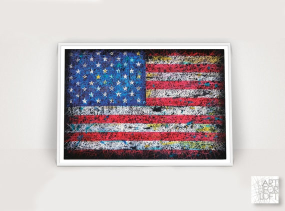 Flag of the united states american flag wall art hand for Painted american flag wall art