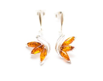 Amber and silver earrings, Sterling Silver, amber earrings, baltic amber, silver drop earrings, dangle earrings, drop, small earrings, amber