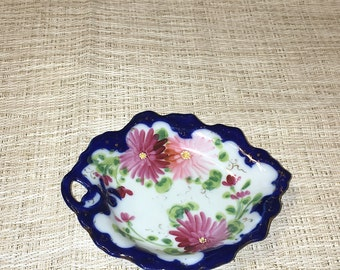 Vintage Porcelain Trinket Coin Dish Tray Floral with Blue and Gold Trim EUC