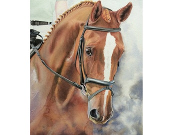 Custom Horse Painting, Dressage Horse Portrait, Hanoverian Horse Watercolor, Equine Art, Custom Horse Art, Watercolor Horse