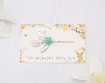 Choose gold or silver, turquoise flower hair pin, turquoise bobby pin, turquoise and silver leaf bobby pin set. Bridesmaid hairpin
