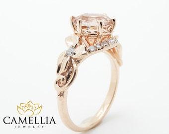 Unique 2 Carat Morganite Ring Morganite Engagement Ring 14K Rose Gold Vintage Anniversary Ring
