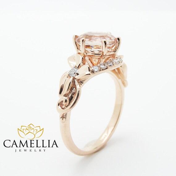 Unique 2 Carat Morganite Ring Morganite Engagement Ring 14K