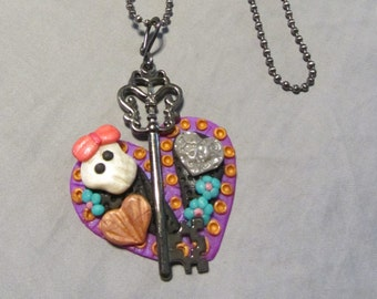 Polymer Clay Jewelry Sugar Skull Hearts & Skeleton Key Pendant Ball Chain Necklace Purple/Black/Multi