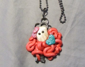 Polymer Clay Jewelry Sugar Skullopos Skeleton Key Pendant Ball Chain Necklace Coral
