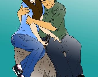 Digital Custom Manga Anime Style Individual or Couples Portrait - Inked or Black & White