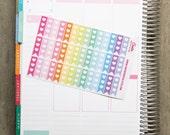 42 half flag stickers with heart, horizontal planner stickers, reminder checklist, eclp filofax happy planner kikkik plum paper mambi