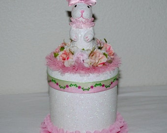 Gift Box, Handmade Keepsake Box, Girl's Gift Box, White Bunny Gift Box, BABY Gift, Pink Keepsake Box,Shabby Chic Gift Box/Memory Box