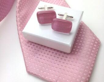 Pink cufflinks,pink glass cufflinks,dusty pink cufflinks,pink cuff links,best man cufflinks,groom cufflinks,wedding cufflinks