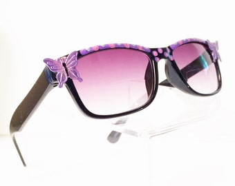 Sunglasses with Butterflies +1.50, Bifocal Reading Glasses, Purple, Butterfly