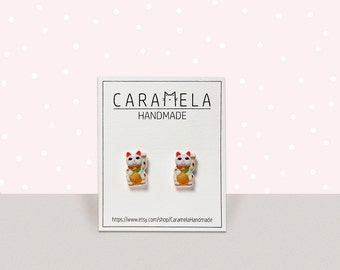 Maneki-Neko Japanese Lucky Cat Stud Earrings - Cat stud earrings - Good luck charm - Chinese Lucky cat earrings - Fortune cat