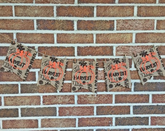 SALE 10% OFF: Pumpkin Banner, Pumpkin Garland, Fall Banner, Burlap Banner, Pumpking Bunting, Ready to Ship