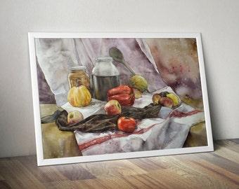 watercolor still life PRINT by Katarzyna Kmiecik / vegetables print, still life art, realistic still life, kitchen decor, watercolor artwork
