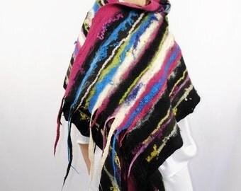 Multicolor Scarf  / silk scarf  / Nuno felting scarf / two-sided scarf /  Handmade felted scarf / merino wool / Wool Scarf / FREE SHIPPING.