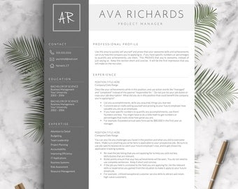 Modern Resume Template For Word And Pages, 1   3 Pages + Cover Letter +  3 Page Resume