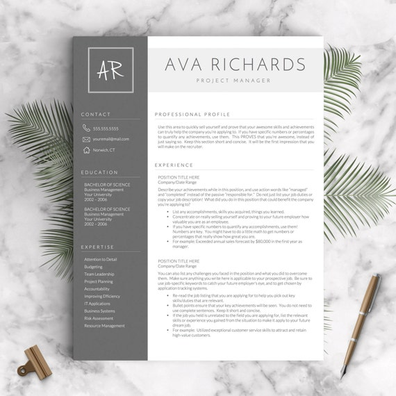 Modern Resume Template For Word And Pages, 1   3 Pages + Cover Letter + Tips  | Modern Resume Template | INSTANT DOWNLOAD CV Template  Modern Resume Tips